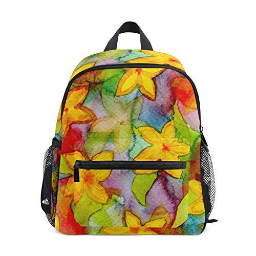 Lightweight Backpack Watercolor Flower Pattern Flora Decorate Leaf Travel Rucksack for School Boys Girls