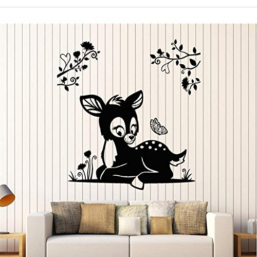 wsydd Deer Wall Sticker Sofa Background Decorate Nursery Vinyl Decals for Kids Room Animal Fawn Branches Art Stickers Mural 57x61cm