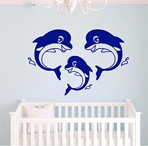wsydd Cute Dolphin Family Wall Art Decorate Sticker Animal Vinyl Decal for Kids Room Bedroom 60x91cm