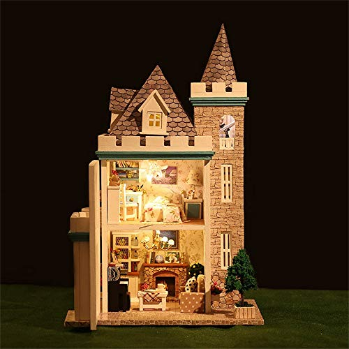 Miniature Dollhouse 3D Wooden DIY Min House Furniture LED Puzzle Decorate Creative Christmas Gifts Kids Pretend Play Toy for Toddlers 19x15x31cm