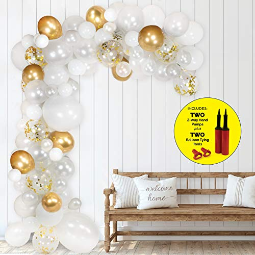 Bryson&Bella Balloon Arch Garland Kit 2 Pumps Decorating Tape Strip Tools – Weddings Bachelorette Parties Bridal Baby Showers Birthdays&More 100 Gold Chrome White Confetti Large Med Small
