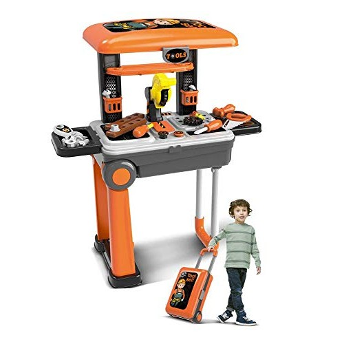 xiongCheng Deluxe Tool 2-in-1 Travel Suitcase Set for Children Includes Screwdriver Saw Hammer Bolts Gears & More ABS Plastic Pretend Play Kit Boys Girls