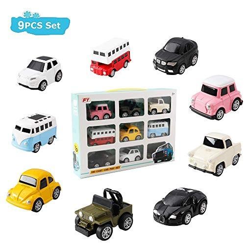 HANMUN Pull Back Car Toy Set 9 Pcs Assorted Mini Die cast Vehicle City