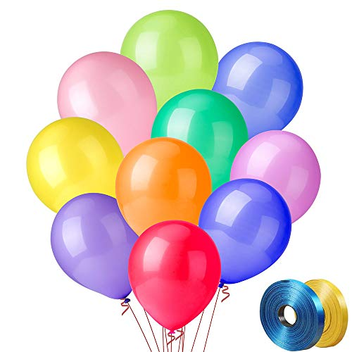 100 PCS Party Balloons 12 Inch High Quality Assorted Colorful Thickened Color Set for Decoration or Arch 10 Colors x 10