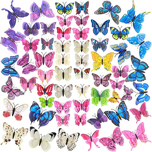 60 Pcs Colorful 3D Butterfly Wall Art Assorted Removable Party Decorations Mural Room Decor Butterflies Decal with Adhesive Stickers for Girl Birthday & Cupcake