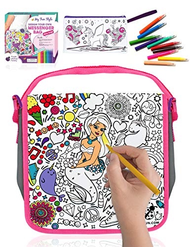 Purple Ladybug Color Your Own Messenger Bag For Girls with Mermaid Design Includes 10 Bright Markers & a Bonus Pencil Case Unicorn Fun Arts Crafts Activity Kit Kids Cute Girl Gift