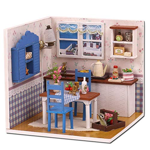 Miniature Dollhouse 3D Wooden DIY Min House Furniture LED Puzzle Decorate Creative Christmas Gifts Kids Pretend Play Toy for Toddlers 115x115x12cm