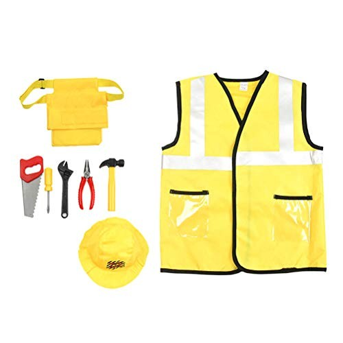 Kids Construction Worker Costume Set Engineering Role Play Dress Up for Halloween Party Perforamnce
