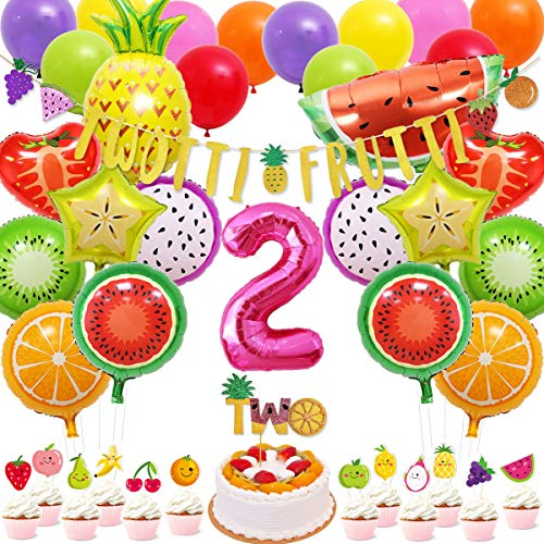 71 Packs Tutti Frutti Party Decorations Set Twotti Glitter Banner Cake Topper Fruit Cupcake Toppers Mylar Balloons for Fruity Second Birthday