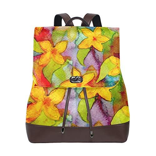 Leather Backpack Watercolor Flower Pattern Flora Decorate Leaf Travel School Rucksack for Boys Girls