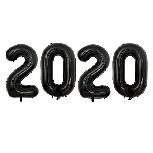 JANOU 2020 Balloons Black 40 Inch Numbers Helium Foil for Graduation Wedding Christmas New Year Party Suppliers
