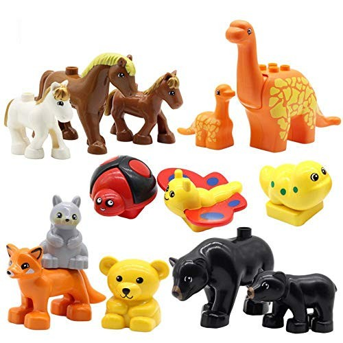 Animals Set Dinosaur Horse Lion Elephant Pig Bear Duck Tiger Big Building Blocks Toys for Children Compatible with Duplo Bricks Two White Tigers
