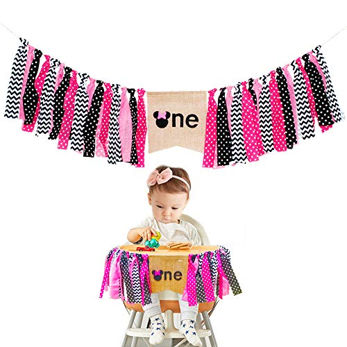 Minnie Mouse Kids First Birthday Highchair Banner 1st Decorations Kit Party Supplies