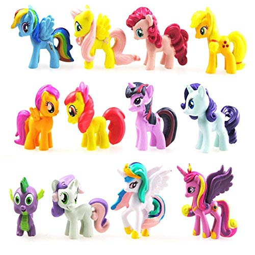 MATECam 12PCS Mini Unicorn Toys Set Action Figures Cake Toppers Decoration Figurines Playset for Kids DIY Home Garden