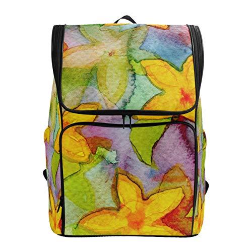 Watercolor Flower Pattern Flora Decorate Leaf Backpack Lightweight Travel School Rucksack for Boys Girls