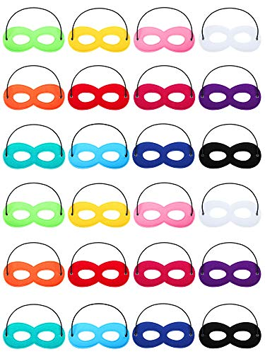 Boao 24 Pack Halloween Masks Felt Mask Eye Half with Elastic Rope for Party Costume Accessory Red Purple White Dark Blue Yellow Pink Orange Green Rose Red Black Sky Blue