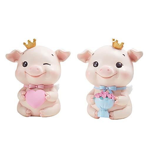 LNDDB Car Decorate Pig Ornaments Doll Styling Mini Toys Piggy Bank for Home Desk – 2pcs Set