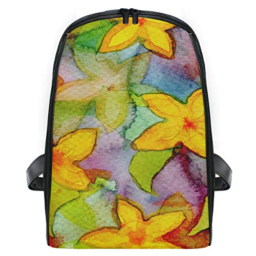 Lightweight Backpack Watercolor Flower Pattern Flora Decorate Leaf Small School Rucksack for Boys Girls
