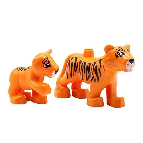 Animals Set Dinosaur Horse Lion Elephant Pig Bear Duck Tiger Big Building Blocks Toys for Children Compatible with Duplo Bricks Two Orange Tigers