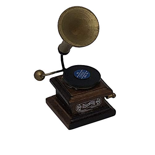 Newdiva Mini The Phonograph Doll House Accessories – Miniature Life Living Room Furniture Kit Developmental Toy Play Scene Pretend Toys Decorate Props for Birthday Lover Gift