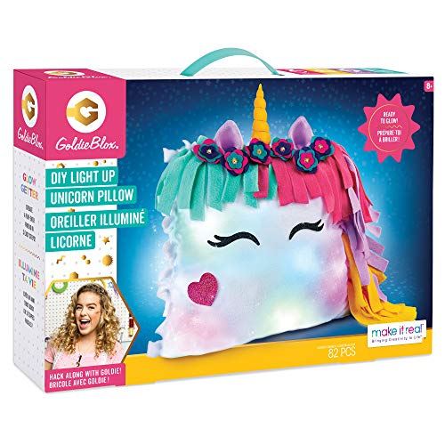 Make It Real GoldieBlox – DIY Glowing Unicorn Pillow STEM Arts & Crafts Includes Sewing Kit and Color Changing Lights
