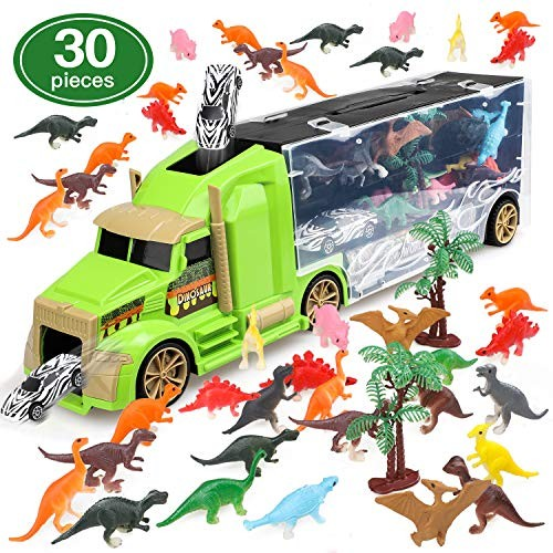 STEAM Life Dinosaur Toys Car Transport Truck Carry Case   30 Pieces Toy Car
