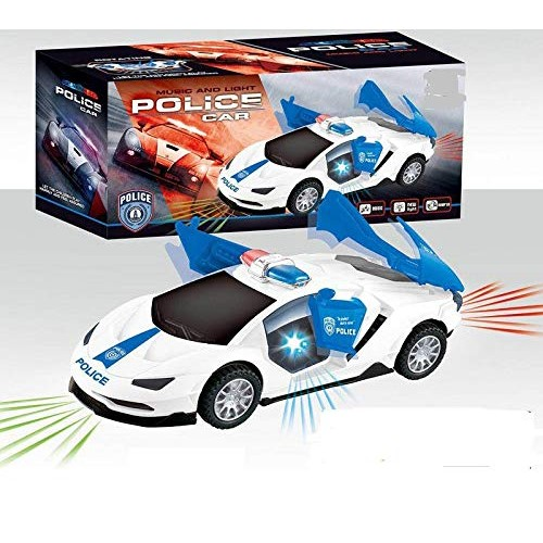 P&F Electric Police Car Light-up Toy Automatic 360 Degree Rotating Wheel with Music &