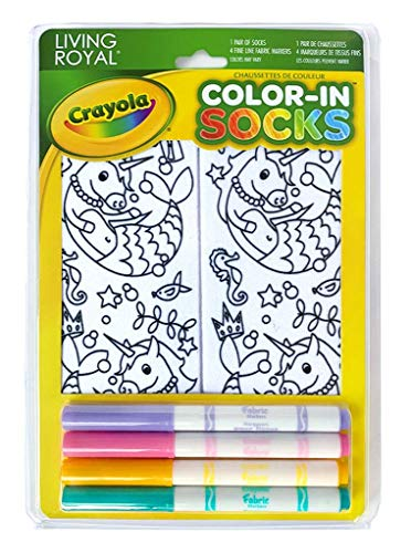 Living Royal Crayola Kid's Color-in Socks – Includes 1 Pair of and 4 Fabric Markers Unicorn Mermaid