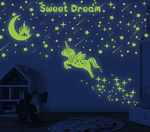 353 PCS Glow in Dark Stars and Moon Castle Glowing Unicorn for Ceiling Wall Decals Kids Bedding Room or Party Birthday Gift