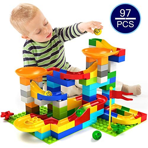 KMiKE 97 PCS Marble Run Building Blocks Construction Toys Set Puzzle Race Track for Kids Boys and Girls