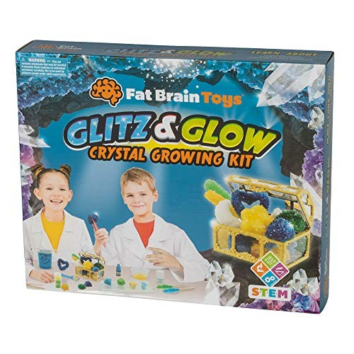 Fat Brain Toys Glitz & Glow Crystal Growing Kit Science Nature for Ages 8 to 10