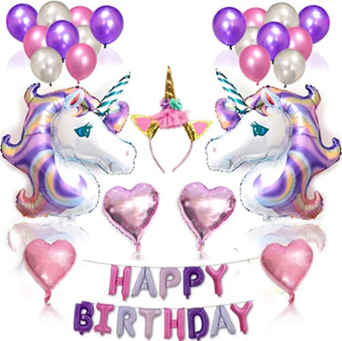 Conniecony Unicorn Balloons Birthday Party Decorations-Unicorn Supplies Set for Included Huge BalloonUnicorn foil Banner Headband & Heart
