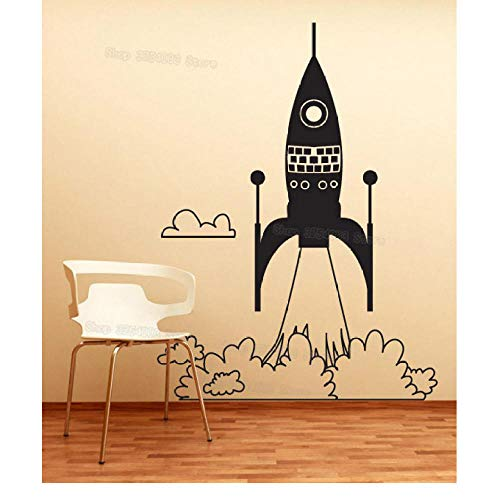 xjpgkd Rocket Ship Take Off Wall Art Stickers Children Room Home Decorate Vinyl Decal Kids Bedroom Nursery Sticker 42x57Cm