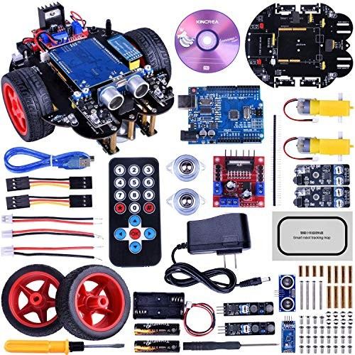 KINCREA Smart Robot Car Kit for Arduino with Line Tracking ModuleUltrasonic SensorIR Remote Control Module and Android Bluetooth APP