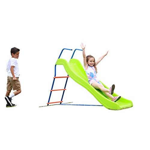 Kids 6ft Outdoor Playground Slide: Freestanding Play Equipment Playset for Children Perfect Indoor Backyard