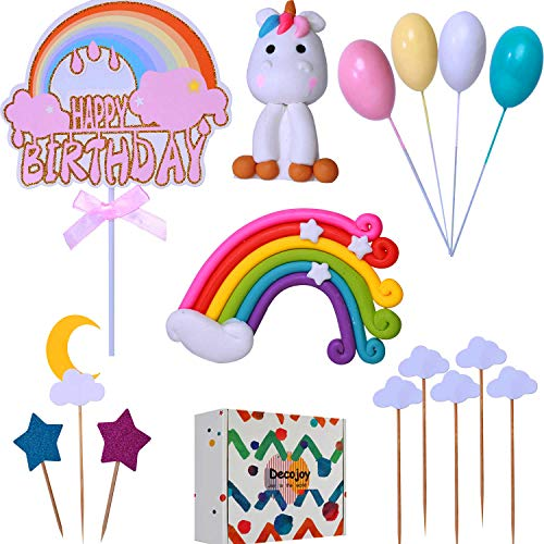 Decojoy Unicorn Rainbow Cake Topper Set Reusable Figurine and Colorful Dash With Glitter Birthday Banner for Girl Gift Box Packing Your Kids Party