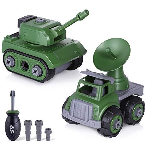 iPlay iLearn Military Vehicles Sets Take Apart Army Toy Tank & Radar Cars Assemble
