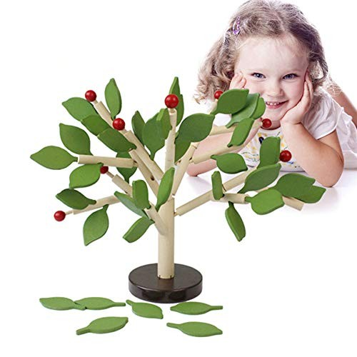 xuBa DIY 3D Wooden Assembling Leaves Building Blocks Puzzle Toy for Infants Kids Early Learning Green Leaf Christmas