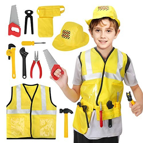 BeebeeRun Construction Worker Costume Role Play Kit SetHalloween Activities Pretend Set with Realistic AccessoriesEducational Engineering Dress Up Gift for ToddlerKids Engineer