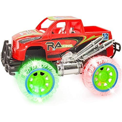 ArtCreativity Light-Up Red Monster Truck with Sounds 9 Inch Monster Truck with Flashing Wheels