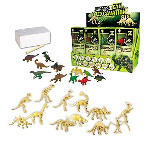 AMPERSAND SHOPS Multi-Pack Variety 12-Set Jurassic Era Dinosaur Excavation Kit 3D Dino Fossil Bones Paleontology Learning Toy Set Party Favor Goody Bag Stuffer