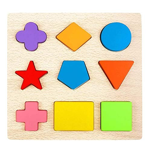 CCLIFE Wooden Shape Puzzles 9 Pieces Kids Block Matching Game Educational Toys for Toddlers 3 Ages and up