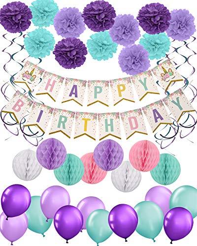 Party Supplies Birthday Decorations – Unicorn Happy Banner Pom Flower Balls Hanging Swirls Balloons Theme Girl & Baby Shower