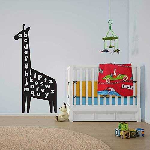 Wall Stickers Murals Giraffe Alphabet Art Decal for Kids Baby Nursery Vinyl Bedroom Living Room Decorate Animal Decals 42x88Cm