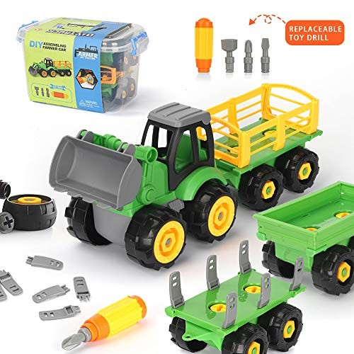Youwo Tractor Take Apart Toys Construction Truck- 4 in one STEM Building Toy Set Educational Engineering Blocks Farm cart Kit for Age 3 5 +Year Ol