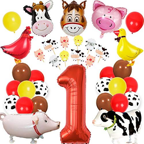 Farm Animal 1st Birthday Decorations Barnyard Party Supplies First with Cake Toppers Walking Balloons