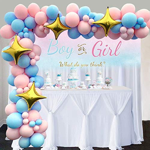 Gender Reveal Balloon Garland Arch Kit 16Ft Long 104pcs Baby Pink and Blue Balloons with 4 Gold Star Foil for Party Shower Decorations