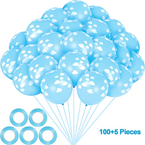 100 Pieces 12 Inch Cloud Latex Balloons Decorative with 5 Rolls Blue Plastic Ribbons for Baby Shower Birthday Party Supplies