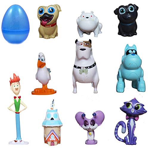PARK AVE 12 pcs Toy Filled Puppy Dog Pals Playset Figures 1-2 Inches Inside Jumbo Plastic Easter Egg – Perfect for Cake Toppers Surprise Party Favor Hunt or Stocking Stuffer