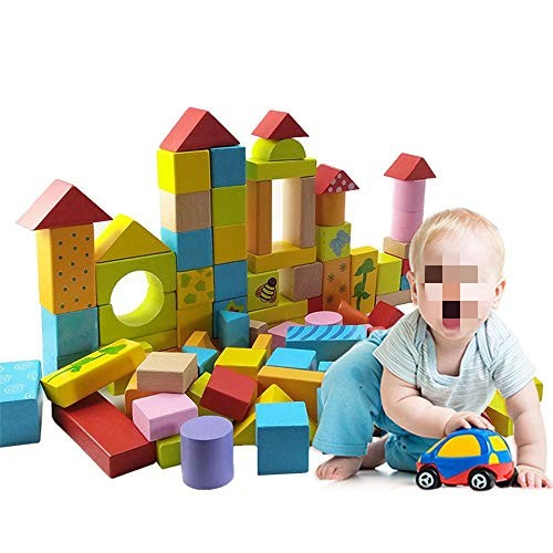 Dertyped Wood Plastic Building Blocks 100 Pcs Wooden Construction Toys Set for Kids and Toddlers Over 3 Years Old Children Top Educational Learning Gift